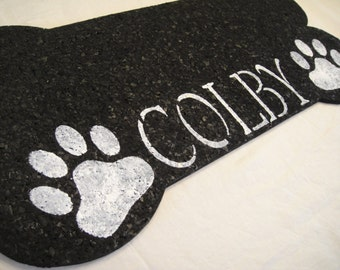 Personalized Recycled Rubber Bone Shaped Pet Placemat