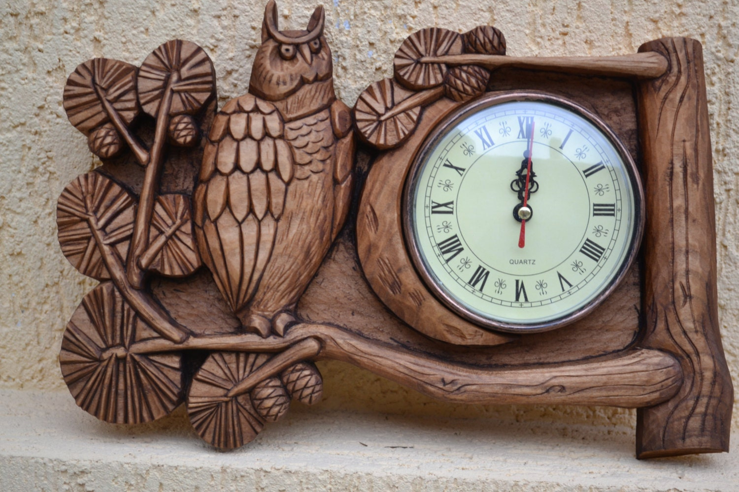 Wall Decor Made From Wood : Handmade wood decor wall clock art t owl th by
