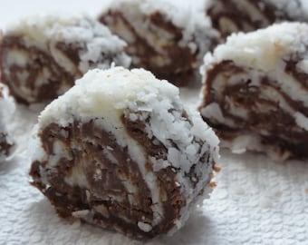 1 dozen 12 pieces  Christmas bon bon, no bake cakes, party cakes,holiday dessert,artisan truffles, chocolate coconut salami