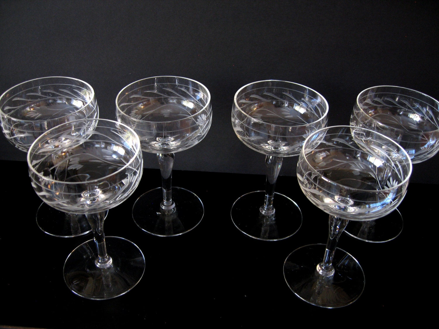 Vintage Etched Crystal Small Wine Glasses Flower And Vine