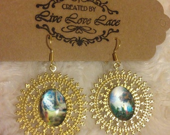 "Gold tone ""happily ever after"" earrings Snow White and Cinderella"