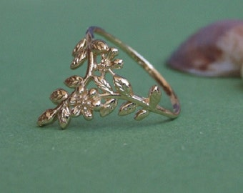 Leaves and Flowers Branch Ring, 14K Yellow Gold Plated Ring