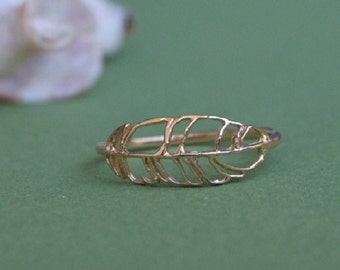 Small Feather Ring, 14K Yellow Gold Plated Ring
