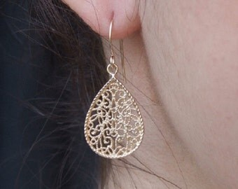 Small and Delicate Filigree in Teadrop Dangle Earrings, 14K Yellow Gold Plated Earrings, Oriental Earrings