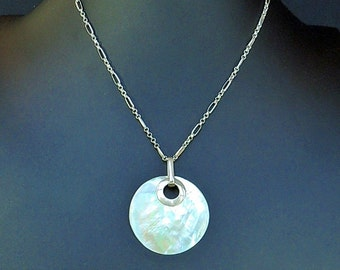 Mother of Pearl pendant on sterling silver chain