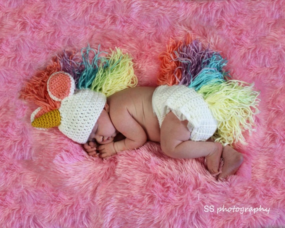 Items similar to Crochet Unicorn Photo Prop/Costume on Etsy