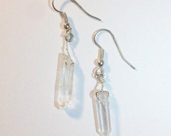 Clear Quartz Crystal Dangle Earrings
