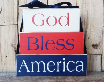 God Bless America block set, Blocks, Memorial Day Blocks, Independence Day Sign, Patriotic Blocks, Memorial Day Sign, Fourth of July