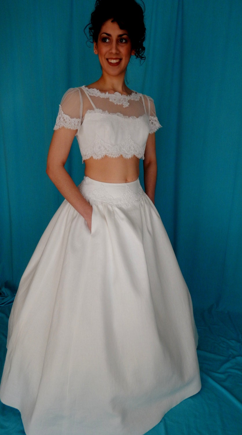 Lace beach wedding dress by nancy issler crop by for Crop top wedding dress