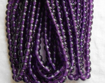 50 4mm Czech Deep Purple, Amethyst glass beads, smooth round druk beads, C7150