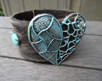 Turquoise Silver Brown Beaded Heart Pendant Distressed Up-Cycled Leather Cuff Bracelet