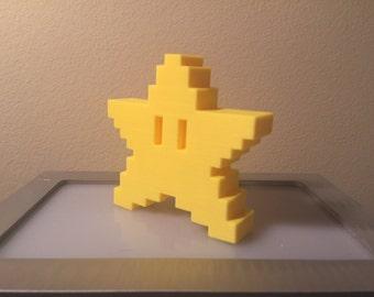 Mario 8 Bit Star 3D Printed