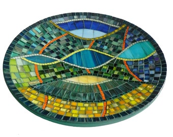 Mosaic Art - Mediterranean Mosaic Dish, Platter,  Bowl,  Modern Wall or Table Decoration in Blue, Turquoise, Green, Yellow and Orange