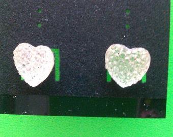 Handmade Clear Heart Post Earrings