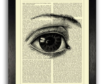 Eye Art Print, ORIGINAL ARTWORK on Dictionary Page, Vintage Dictionary Art Print, Human Anatomy Art, Dictionary Print, Dictionary Artwork