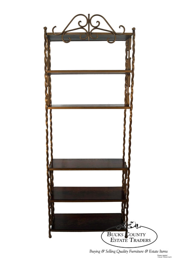 vintage wrought iron gilt metal tall etagere bookcase. Black Bedroom Furniture Sets. Home Design Ideas