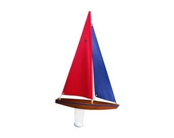 T15 Racing Sloop Finished - 15 inch Wooden Toy Sailboat that Really Sails!