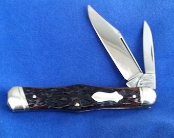 Vintage Tidioute Cutlery ? ; Jigged Bone ,Tuxedo Jack Knife     T-0011