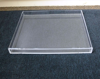 Clear Acrylic Lucite Large Serving Or Display Tray With