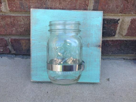 Mason Jar Wall Decor. Rustic home decor. Mason jar organizer, vase ...