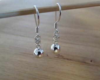 Silver Byzantine Boule Earrings.