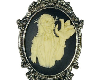 Gothic Zombie Cameo Ivory on Black Pewter Pendant Necklace NK-623