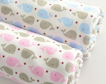Wide Cotton Knit Fabric, Baby Fabric, Baby Cotton, Stretch Fabric, Pink and Blue Little Whales- 1/2 yard