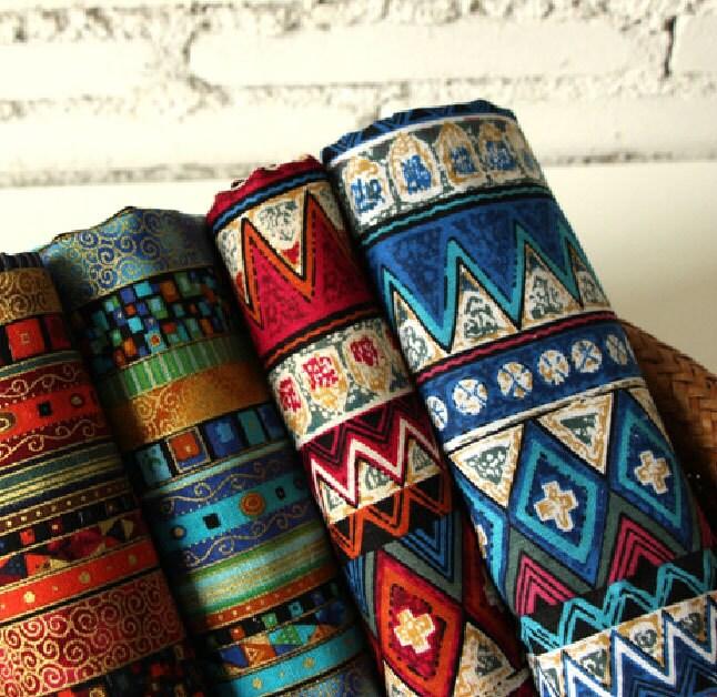 African Stripe Cotton Linen Fabric Bohemian Fabric Upholstery