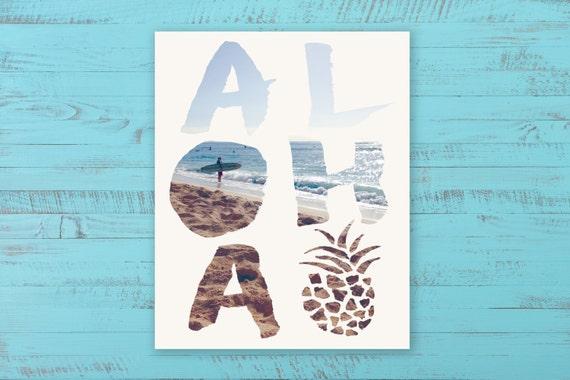"Aloha Digital Download, Hawaiian Beach Art Print, INSTANT DOWNLOAD, 8"" x 10"""
