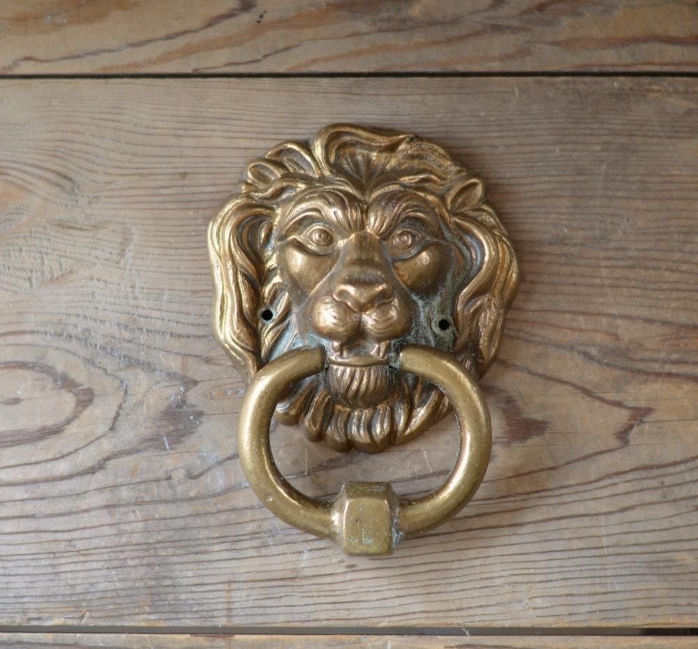 Antique belgian brass lions head door knocker by studiobrocante - Antique brass lion head door knocker ...