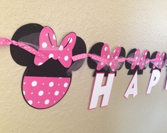 Minnie Mouse Banner, Minnie Mouse Birthday Banner, Minnie Mouse Party, Minnie Mouse Birthday, Minnie Mouse Garland, Hor Pink Minnie