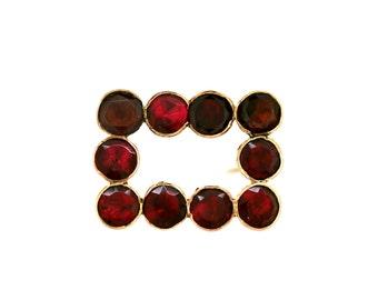 Antique Garnet Brooch - Georgian Garnet Brooch Pin Scarf Pin