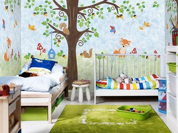 eichh rnchen familie tapete tier n sse v gel fox pilz baum. Black Bedroom Furniture Sets. Home Design Ideas