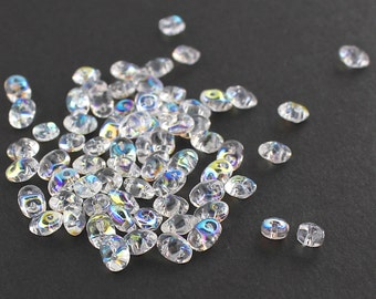 20g Czech SuperDuo 2 hole beads Crystal AB 2.5x5mm [C3]