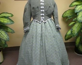 Civil war era woman dress,1860-1865 Period woman dress,Historical civil war dress