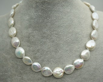 thickness,White Coin Pearl Necklace - pearl very good,smooth,high luster- Coin Pearl- 13-14mm-petite Pearl Necklace- Pearl Jewelry,NPH1-008
