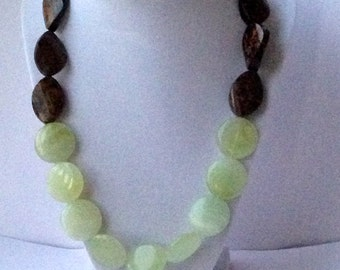 New jade, flat discs, Bronzite, twisted bronzite, gold plated clasp, single strand necklace