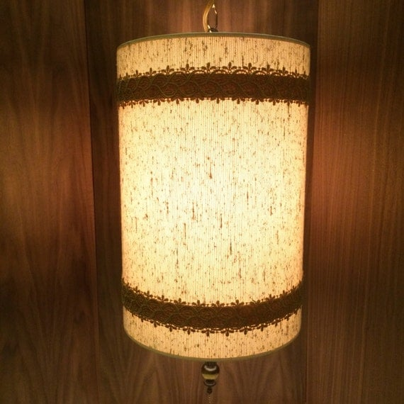 Two Cool Retro Mid Century Modern Fabric Pendant Swag Lamps
