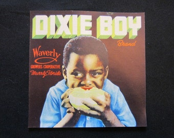 Vintage 1930s Black Americana Dixie Boy Fruit Label