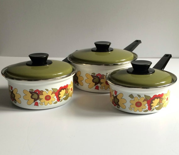 Vintage Enamelware Pots Red Yellow Green Flower By AtomicHawks