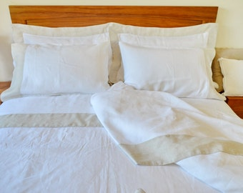 Queen/King Size Bed Sheet Set,  Flat Sheet and Pillowcases Natural Grey Hem 14 cm Shabby Chic Decor Wedding/Christmas Gift White