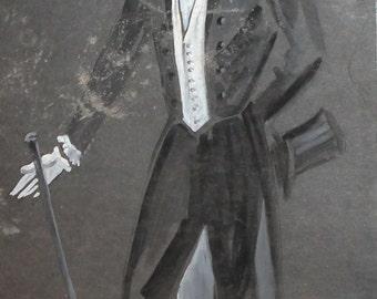 Vintage Man theatre victorian costume design gouache painting signed
