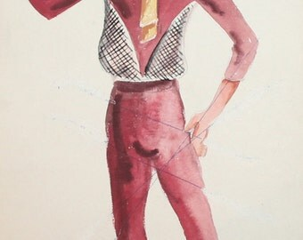 Vintage wc painting male theatre costume signed