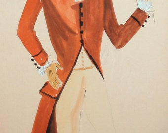 Vintage theatre male costume design gouache painting signed