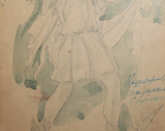 Vintage theater costume watercolor pencil painting signed