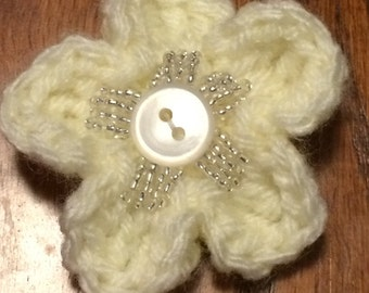 White Crochet Beaded Flower Barrette