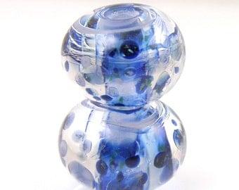 Midnight Swirls Earring Pair SRA Lampwork Handmade Artisan Glass Donut/Round Beads Made to Order Pair of 2 8x12mm