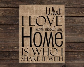 Burlap Print Wall Word Art Rustic Sign Home Decor - What I Love Most About My Home is Who I Share it With (#1096B)