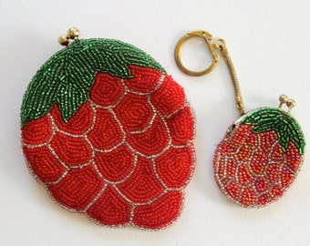Beaded Strawberry Korean Change Purse and Surprise Mini Keychain Purse
