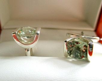 Sterling Silver and Green Beryl Cufflinks